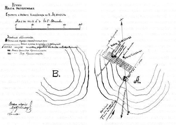В июле 1921 г. перед отъездом в Югославию кубанец хорунжий М. Бреславец составил чертеж кладбища в Калоераки с указанием дороги к могиле своего умершего друга хорунжего В. Красноплахтова.