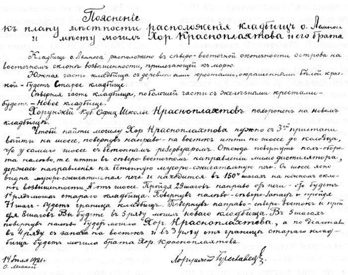 Пояснения к плану местности расположения кладбищ о. Лемноса и месту могилы хорунжия Красноплахтова и его брата.
